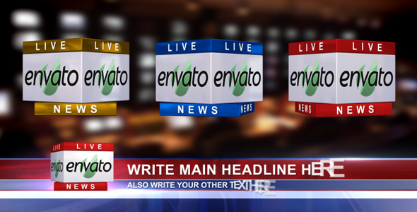 3D News Logo & Lower Third Ver. 1.1 (In 3 Colors)