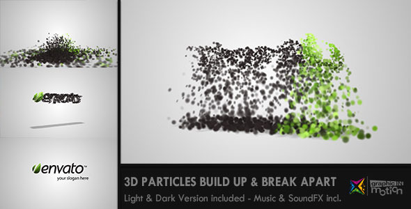 3D Particles Logo Build Up & Break Apart Intro