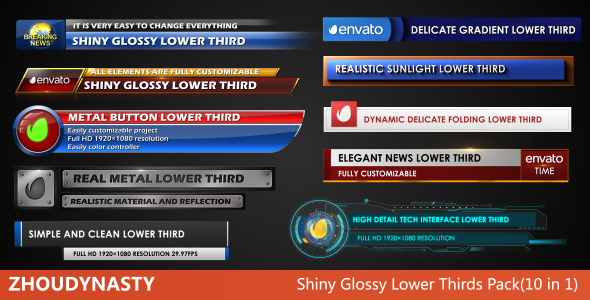 Shiny Glossy Lower Thirds Pack(10 in 1)