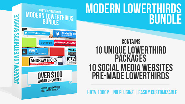 Modern Lower Thirds Bundle (10 in 1)