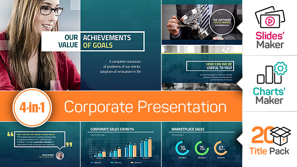 4-in-1: Corporate Presentation + Slides' Maker, Charts' Maker and Title Pack
