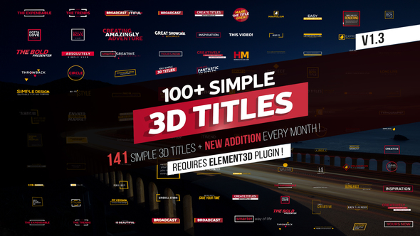 100+ Simple 3D Titles V1.3