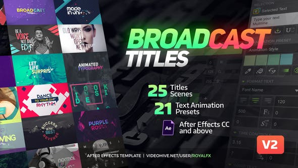TypeX - Text Animation Tool | Broadcast Pack: Modern Colorful Typography Titles